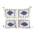 Vintage Berber cushion rectangular Woven wool hand blue patterns with its wool pompoms assorted