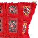 Cushion red square vintage hand embroidery woven