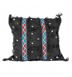 Black woven and embroidered square vintage handmade color cushion