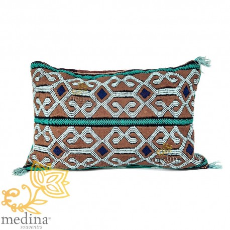 Vintage blue and Brown cushion woven and embroidered by hand