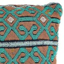 Cushion vintage color green and taupe cushion rectangular woven and embroidered by hand