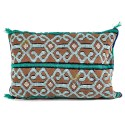Vintage color cushion green mole and white rectangular cushion woven and embroidered by hand