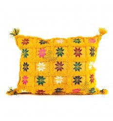 Yellow rectangular vintage woven and embroidered with her PomPoms hand cushion