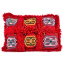 Cushion red rectangular vintage hand embroidery woven