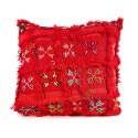 Red vintage cushion woven and embroidered hand cushion craft design tiles