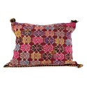 Vintage cushion woven hand colored with PomPoms wool cushion