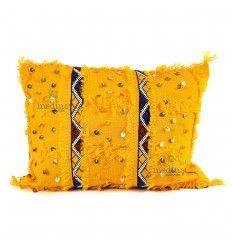 Vintage cushion yellow hand woven