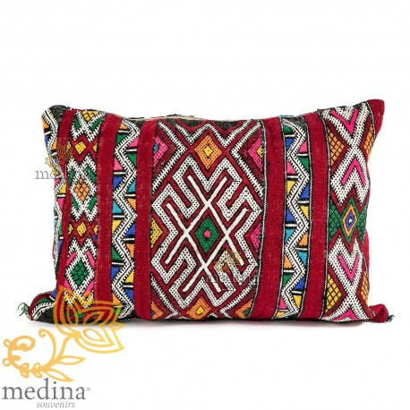 Vintage red hand patterned woven white cushion