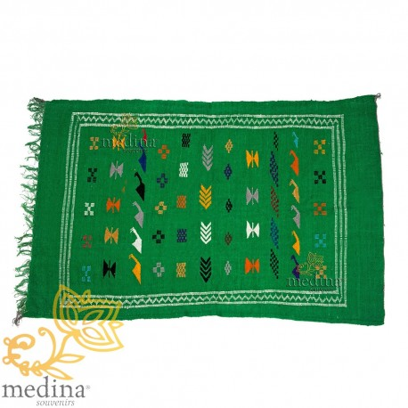 Hand made vintage carpet Berber carpet to the ethnic patterns on green background