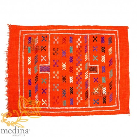 Hand made vintage carpet Berber carpet to the ethnic patterns on orange background