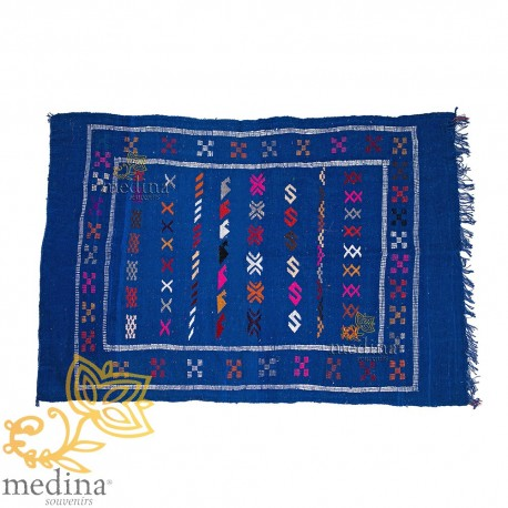 Hand made vintage carpet Berber carpet to ethnic patterns on a royal blue background