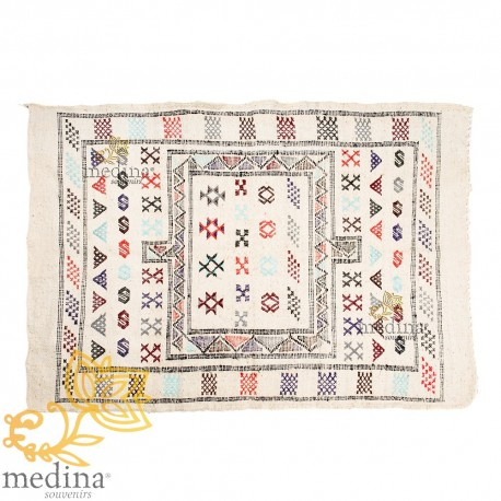 Carpet made vintage hand ethnic patterns on white background