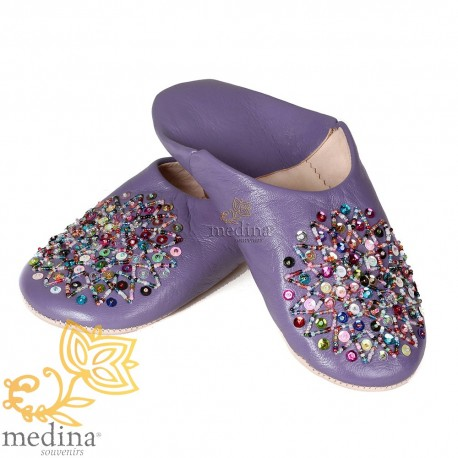 Essaouira lavender, Moroccan babouche slipper real leather