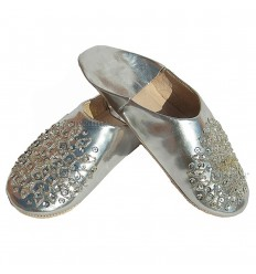 Slipper embroidered sequins, slipper woman model silver Galia