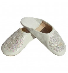 Slipper embroidered sequins, slipper woman model white Galia