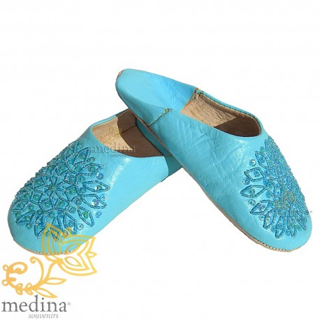 Slipper embroidered sequins, slipper woman model sky blue Galia