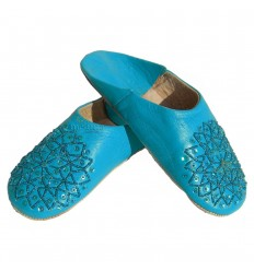 Slipper embroidered sequins, slipper woman model turquoise Galia