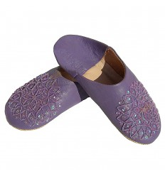 Slipper embroidered sequins, slipper woman model Lavender Galia