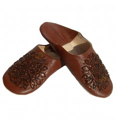 Slipper geborduurd pailletten, slipper vrouw model Brown Galia