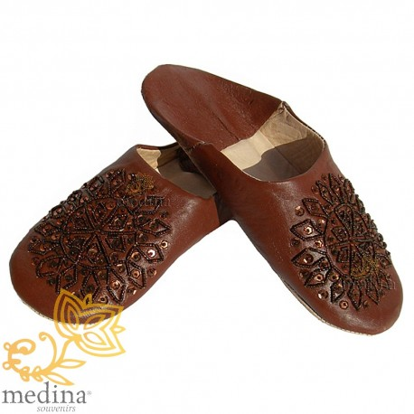 Slipper embroidered sequins, slipper woman model Brown Galia