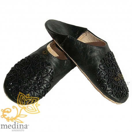 Slipper embroidered sequins, slipper woman model black Galia