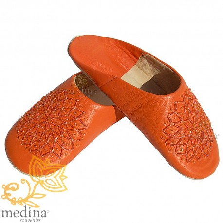 Babouche glitter embroidered, slipper woman model Galia orange