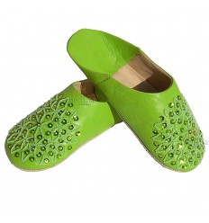 Slipper embroidered sequins, slipper woman model pistachio Galia