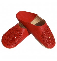 Slipper embroidered sequins, slipper woman model red Galia