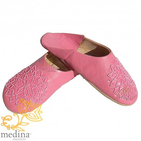 Babouche glitter embroidered, slipper woman model Galia pink