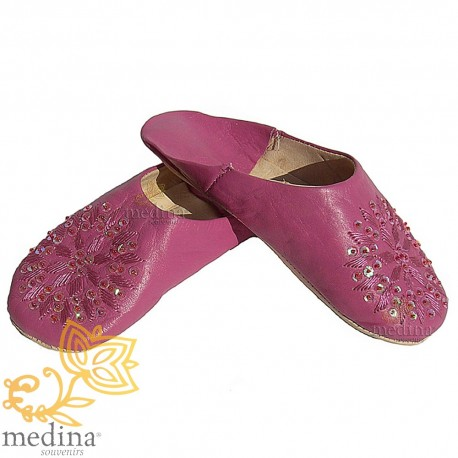 Slipper embroidered sequins, slipper woman model violet Galia