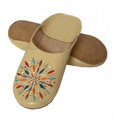 Woman rafia cream leather slippers