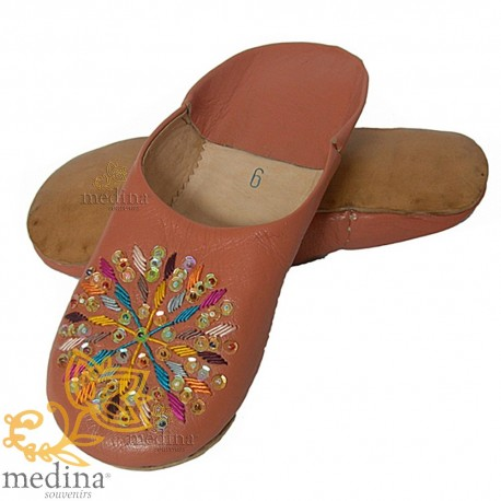 Slippers woman rafia ocher leather