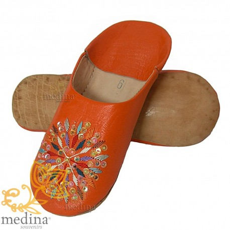 Slippers woman rafia orange leather