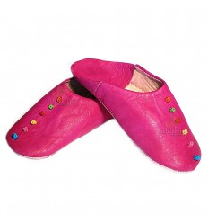 Rosa slipper, slipper in leather and trimmings of silk rose