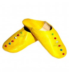 Slipper slipper in leather and trimmings of yellow silk, Rosa