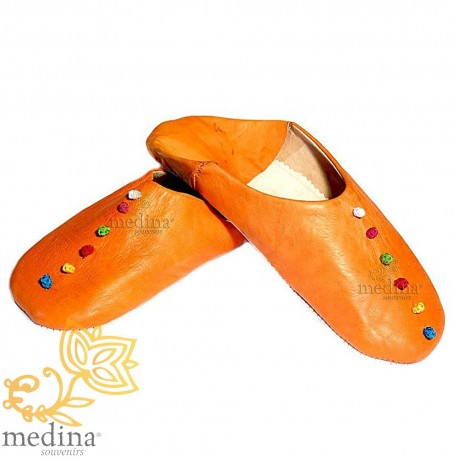 Rosa slipper, slipper in leather and trimmings of silk orange