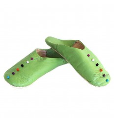 Rosa, slipper in green leather and trimmings of silk slipper