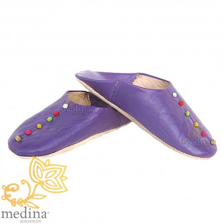 Rosa, in leather and trimmings of silk purple slipper slipper