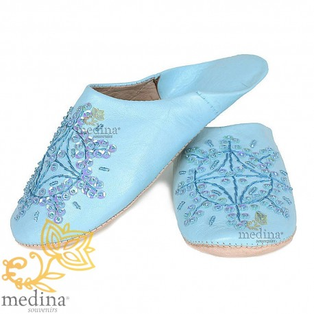 Slipper Moroccan original blue Paloma
