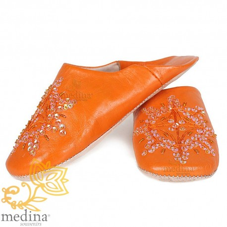 Babouche marocaine originales Paloma orange
