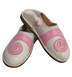 Spiral design Berber rosé and white slipper