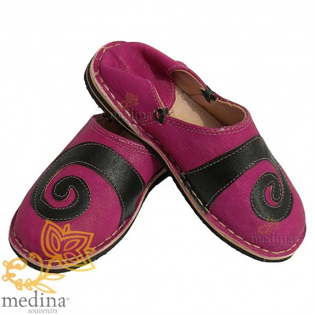 Slipper spiral design Berber Brown and Fuchsia