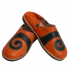 Babouche berbere design spirale Orange et Noir