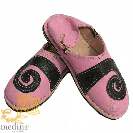 Spiral design Berber Rose and black slipper