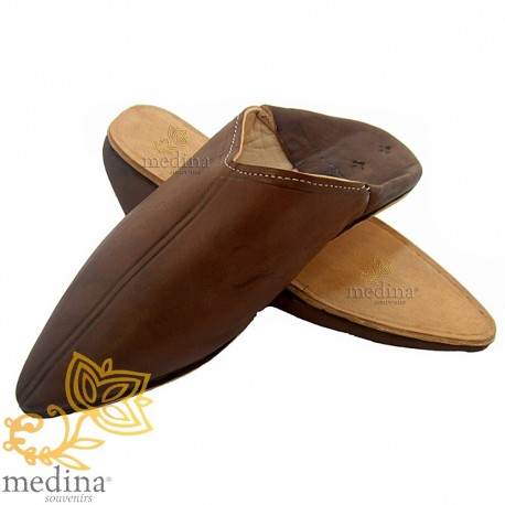 Brown traditional slipper, slipper pointed out Marrakech
