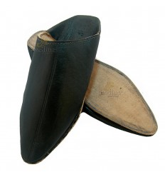 Traditionele slipper, zwarte slipper gewezen Marrakech