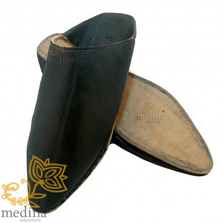 Black traditional slipper, slipper pointed out Marrakech