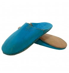Blue traditional slipper, slipper round out Marrakech