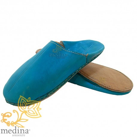 Blauwe traditionele slipper, slipper ronde uit Marrakech