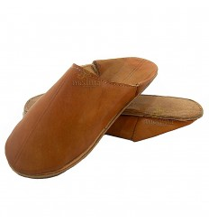 Karamel traditionele slipper, slipper ronde uit Marrakech